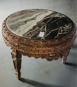 Center Table French Style Louis Xv With Marble Top