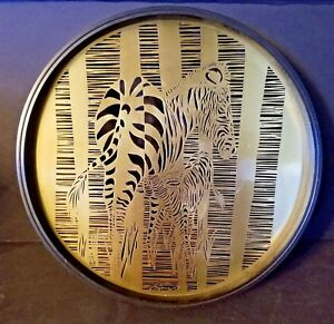 Mid Century Bijan Brass Metal Wall Art Tray Zebra Mother Baby Nursing Rare