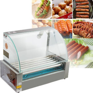 Us commercial 18 Hot Dog Hotdog 7 Roller Grill Cooker Machine With Cover 1050w A