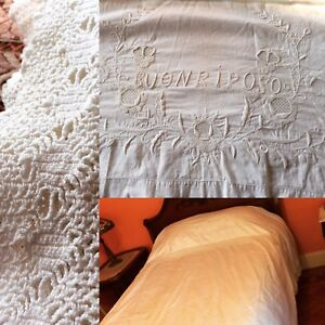 Antique Italian Bed Sheet White Linen Cotton Embroidered Buonripose 108 Lace