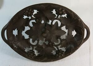 Antique Switzerland Black Forest Carved Wood Leaf Grape Handled Tray Signed