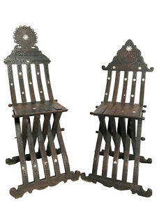 Pair Of Early 20th Century His Hers Syrian Savonarola Chairs