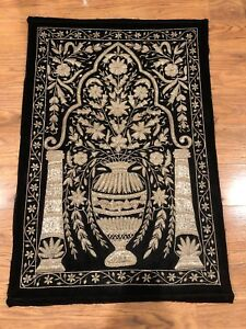 Vintage Turkish Ottoman Islamic Style Silver Thread Embroidery Panel