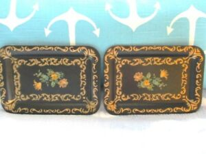 2 Ornate Vintage Black Gold Floral Tole Dresser Jewelry Tidbit Pin Trays
