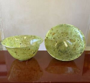 Authentic Spinach Jade Handmade Bowls Very Rare