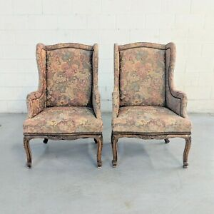 Pair Of Antique Oak French Style Wingback Chairs French Country Louis Xvi Style