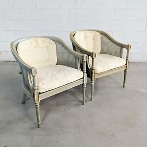 2 Vtg Ethan Allen French Country Caned Barrel Accent Chairs Shabby Chic