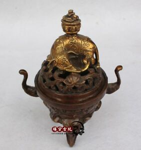 Superb China Old Handwork Bronze Lucky Dragon Lotus Incense Burners