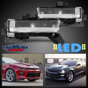 Fit 16 18 Chevy Camaro Pair Oe Led Drl Fog Light wiring switch Kit Clear Lens