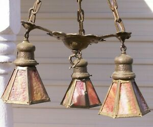 Antique Hammered Brass And Slag Glass Hanging 3 Light Art Deco Mission O