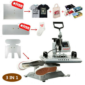 3 In 1 Heat Press Transfer Machine Sublimation T shirt canvas Shoes Diy Printing