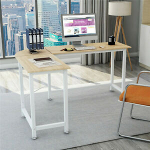 L shape Corner Computer Desk Wood Steel Laptop Table Workstation Home Office