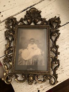Antique Vintage Ornate Solid Brass Picture Frame W Baby Photo Easel Back 3 Lbs