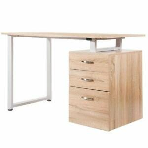 Computer Desk Home Office Workstation With 3 drawers And Reversible Cabinet