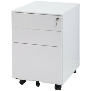Mobile Metal File Cabinet With 3 Drawer Fully Assembled Except For Castors White