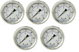 5 Pack Liquid Filled Pressure Gauge 0 60 Psi 2 Face 1 4 Back Mount