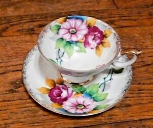 Sterling Fine Bone China Cup Saucer Flowers With Gold Trim Japan