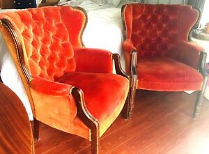 2 Pc Art Deco Gentleman S Library Room Wing Chair Velvet Upholstered Tufted