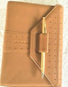 Cross Pen Planner Filofax Personal Size Brown Leather suede 6 Ring 1 With Pen