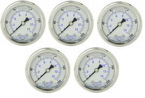 5 Pack Liquid Filled Pressure Gauge 0 200 Psi 2 Face 1 4 Back Mount