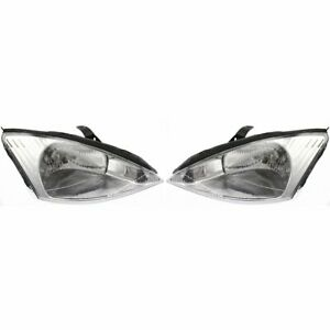 Halogen Headlight Set For 2000 2002 Ford Focus Left Right W Bulbs Pair