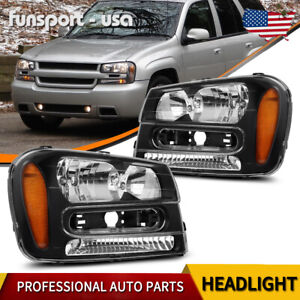 For Chevy Trailblazer Suv 2002 2009 Black Housing Amber Corner Headlight Lamp