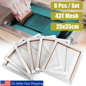 6pcs 14 x10 Aluminum Frame Silk Screen Printing Screens 110 White Mesh Count
