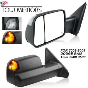 For 02 08 Dodge Ram 1500 03 09 2500 3500 Power Heated Turn Signal Tow Mirrors 2p