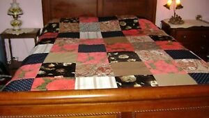 Vintage Quilt Top Pattern Blocks With Multi Colors Red Roses Size 69 X77 Nice