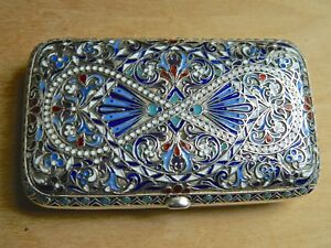 Antique Russian Imperial Silver Enamel Cigarette Case Sale 500 Off