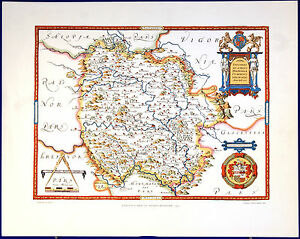 Saxton Map Of Herefordshire 1577 Lithographic Print Unframed