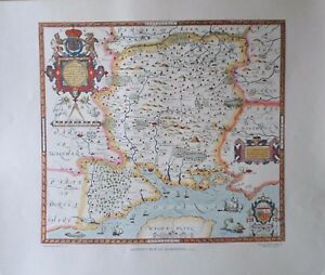 Saxton Map Of Hampshire 1575 Litho Print Reproduction