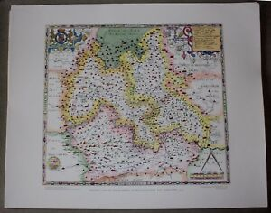 Saxton Map Of Oxfordshire Bucks And Berks 1574 Lithographic Print Unframed