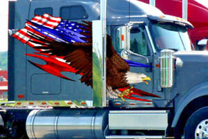 Semi Trailer Decals American Flag Tribal Eagle Truck Vinyl Graphics