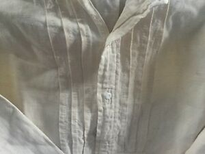 Antique French Linen Nightdress With Pleated Front Redwork Monogram
