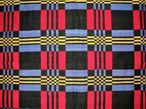 Antique Jacquard Coverlet Blanket Black Red Blue Yellow Checkered Cotton 48x82