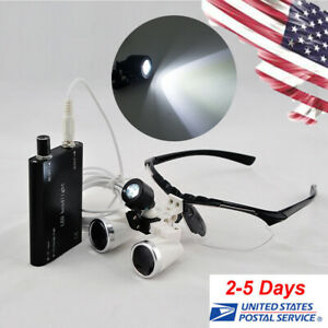 Dental Lab Binocular Loupes 3 5x420mm Optical Glass Loupe led Head Light Lamp Ce