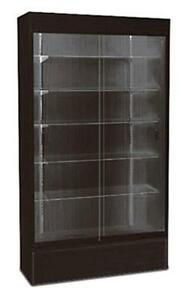 Wall Case Knockdown Showcase Glass Display Store Free Standing Black 48 w New