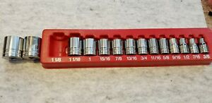 Snap On Tools 13 Pc 1 2 Drv 12 pt Sae Shallow Socket Set 1 5 16 3 8
