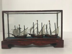 Vintage Nautical Ship Models Shadow Box Diorama 7 X 4 5 X 1 75