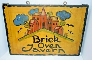 Antique Double Sided Brick Oven Tavern Wooden Sign Lancaster Pa Folk Art