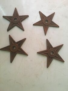 Lot Of 4 Cast Iron Architectural Stress Washers Texas Lone Star Rustic Rusty 4