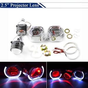 2 5 Bi Xenon Hid Projector Lens Led White Angel Ring Red Demon Eyes For H7 H4