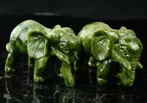 A Pair 100 China Natural Jade Hand Carved Statues Of Elephant Very Good