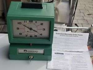 Acroprint Time Recorder Punch Clock 125nr4 Includes Key And Manual