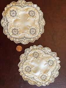 Two Vintage Hand Embroidered And Drawnwork Scallop Doilies