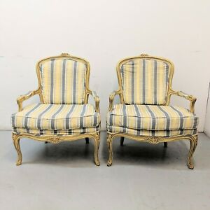 2 Vtg French Country Striped Fauteuil Chairs Bergere Shabby Provincial Louis Xvi