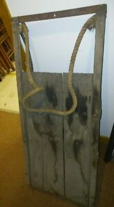 Vintage Antique 40 Snow Sled Wood Winter Usa Rust Runners 3 Slat Top Patina