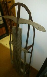 Vintage Antique 46 Snow Sled Wood Winter Usa Rust Runners 1 Board Top Patina