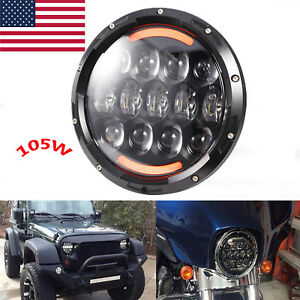 7 105w Round Led Headlight Hi Lo Beam Bulb For Jeep Wrangler Jk Tj Black